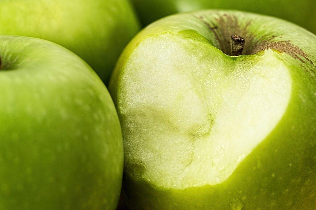 green apple, bite, food
